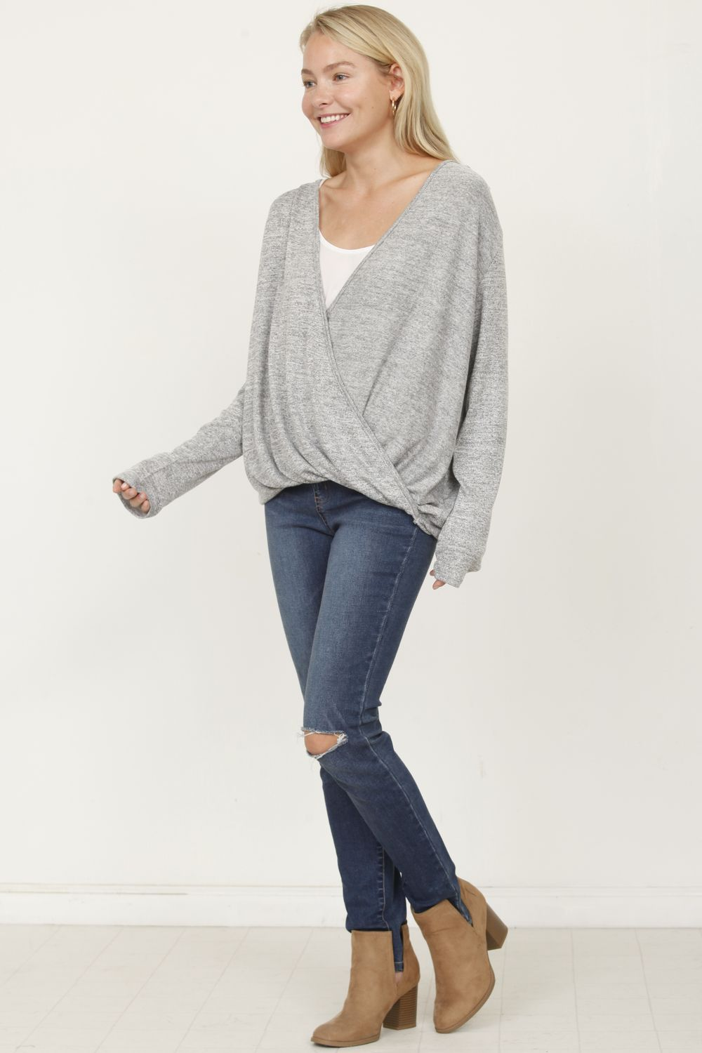 Grey Surplice Front Knit Top