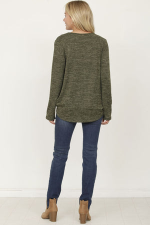 Olive Surplice Front Knit Top