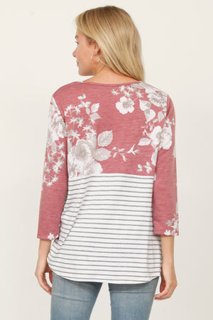 Burgundy Floral Stripe Twist Hem Tunic