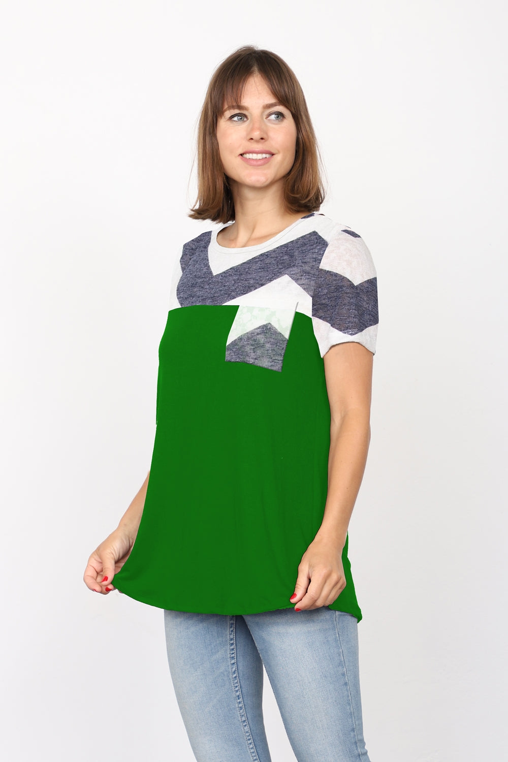 Green & Navy Chevron Chest-Pocket Short Sleeve Top_Plus