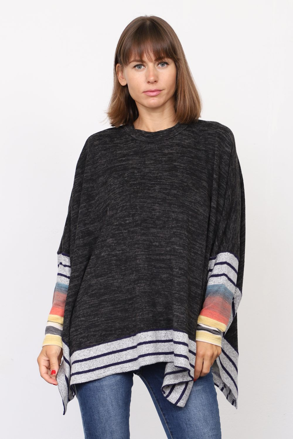 Black Brushed Soft Cape Style Poncho Tunic with Stripe Trim Water Color Accent
