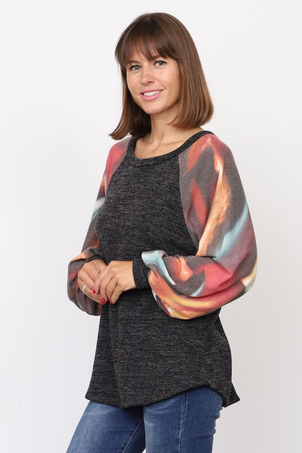 Charcoal & Coral Mint Tie Dye Raglan Bishop Sleeve Tunic