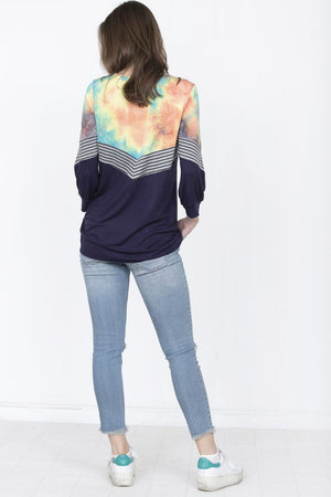 Navy Chevron Tropical Tie Dye Top_Plus