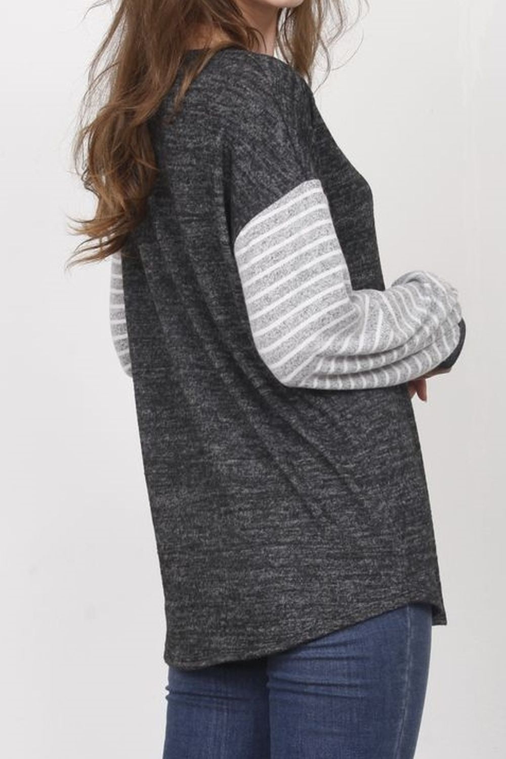 Charcoal & Grey White Stripe Bishop Sleeve Top_Plus