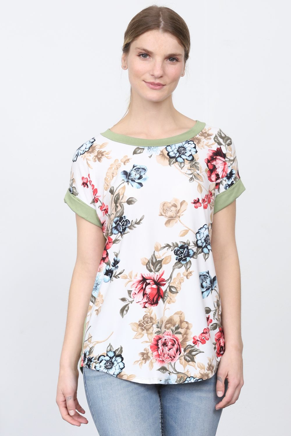 Sage & Ivory Floral Cuff Sleeve Top