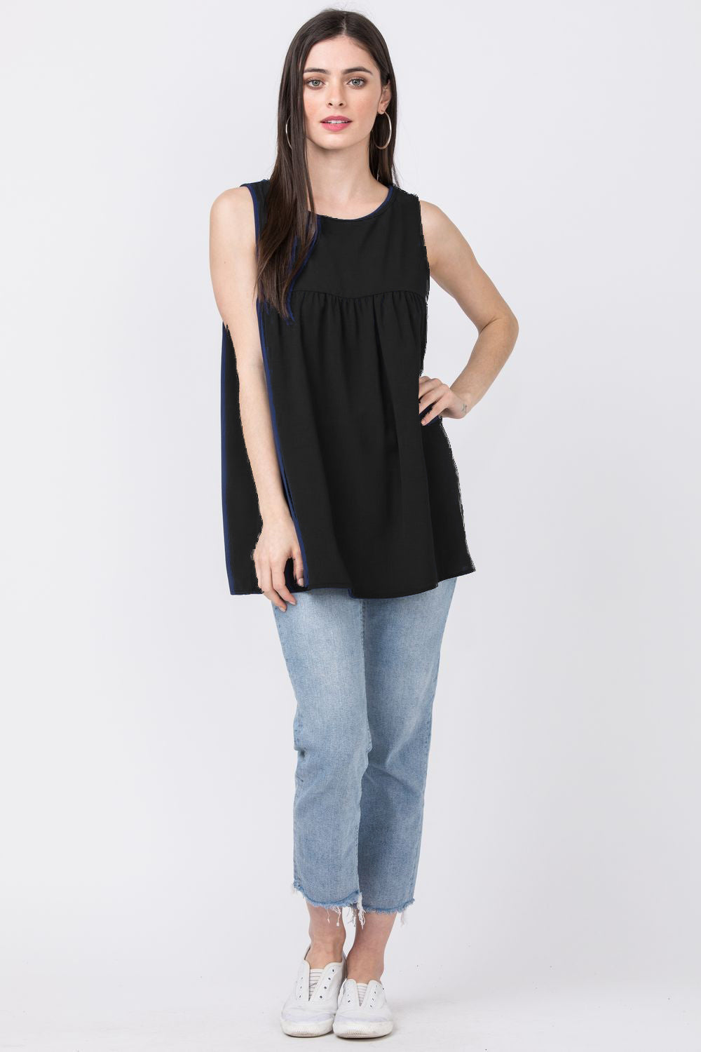 Solid Black Sleeveless Empire Waist Tunic