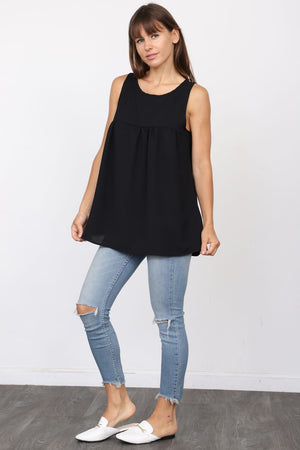 Solid Black Sleeveless Empire Waist Tunic_Plus