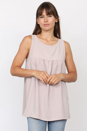 Solid Taupe Sleeveless Empire Waist Tunic_Plus