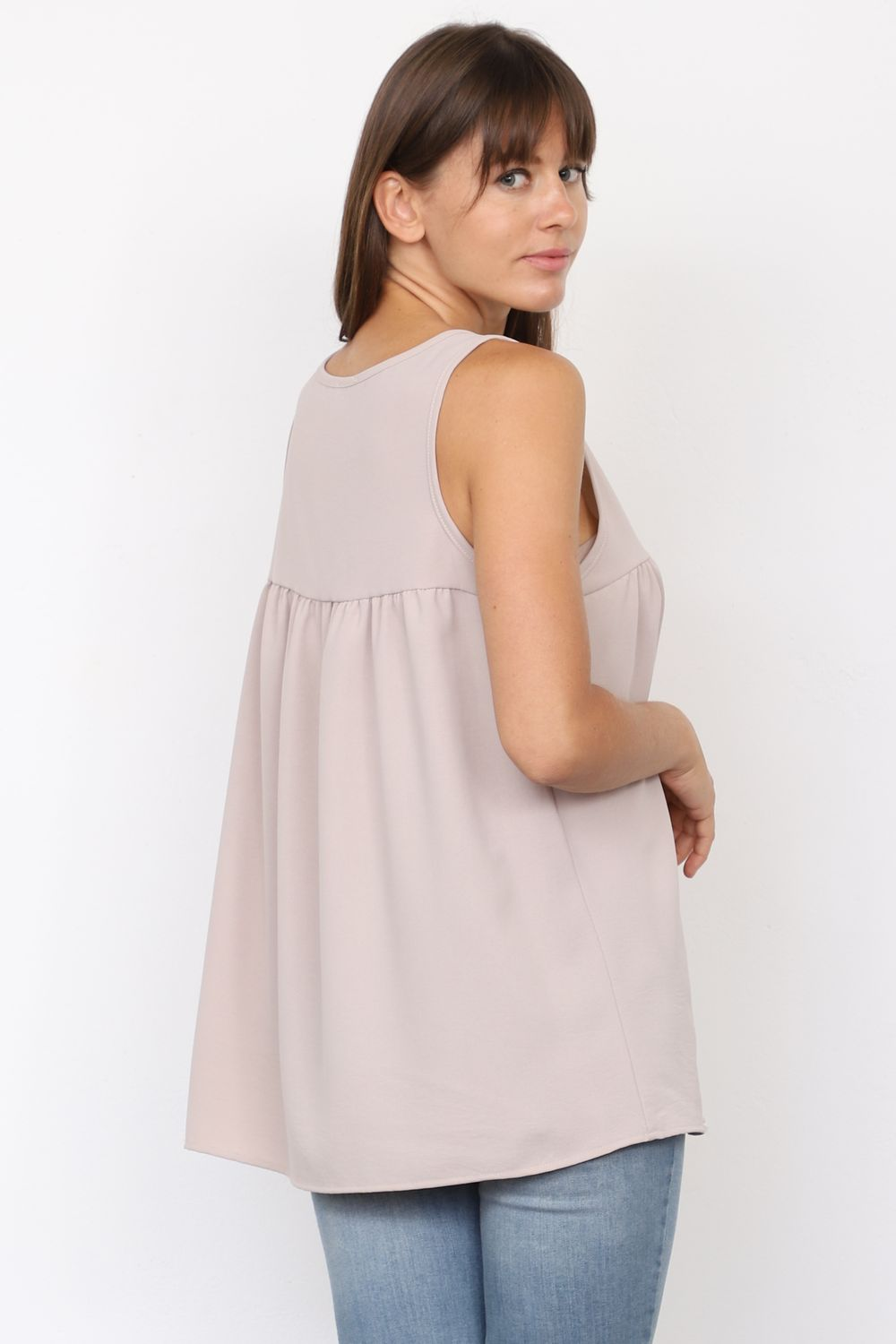 Solid Taupe Sleeveless Empire Waist Tunic