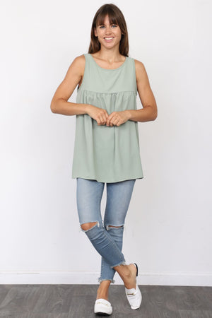 Solid Sage Sleeveless Empire Waist Tunic_Plus