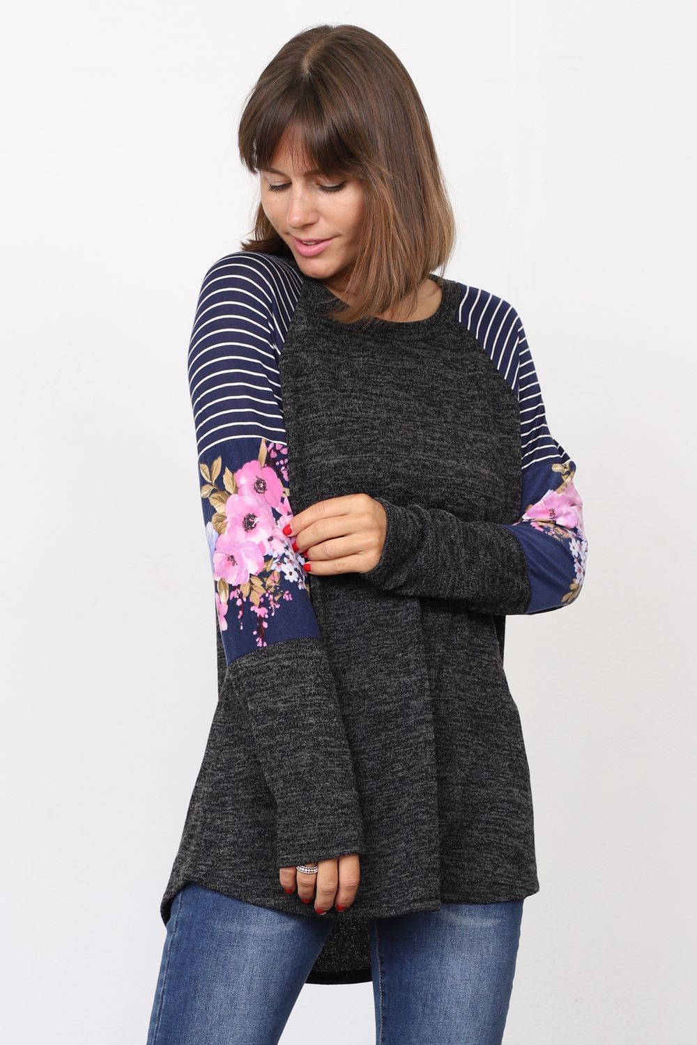 Charcoal Stripe Floral Color Block Raglan Sleeve Tunic_Plus