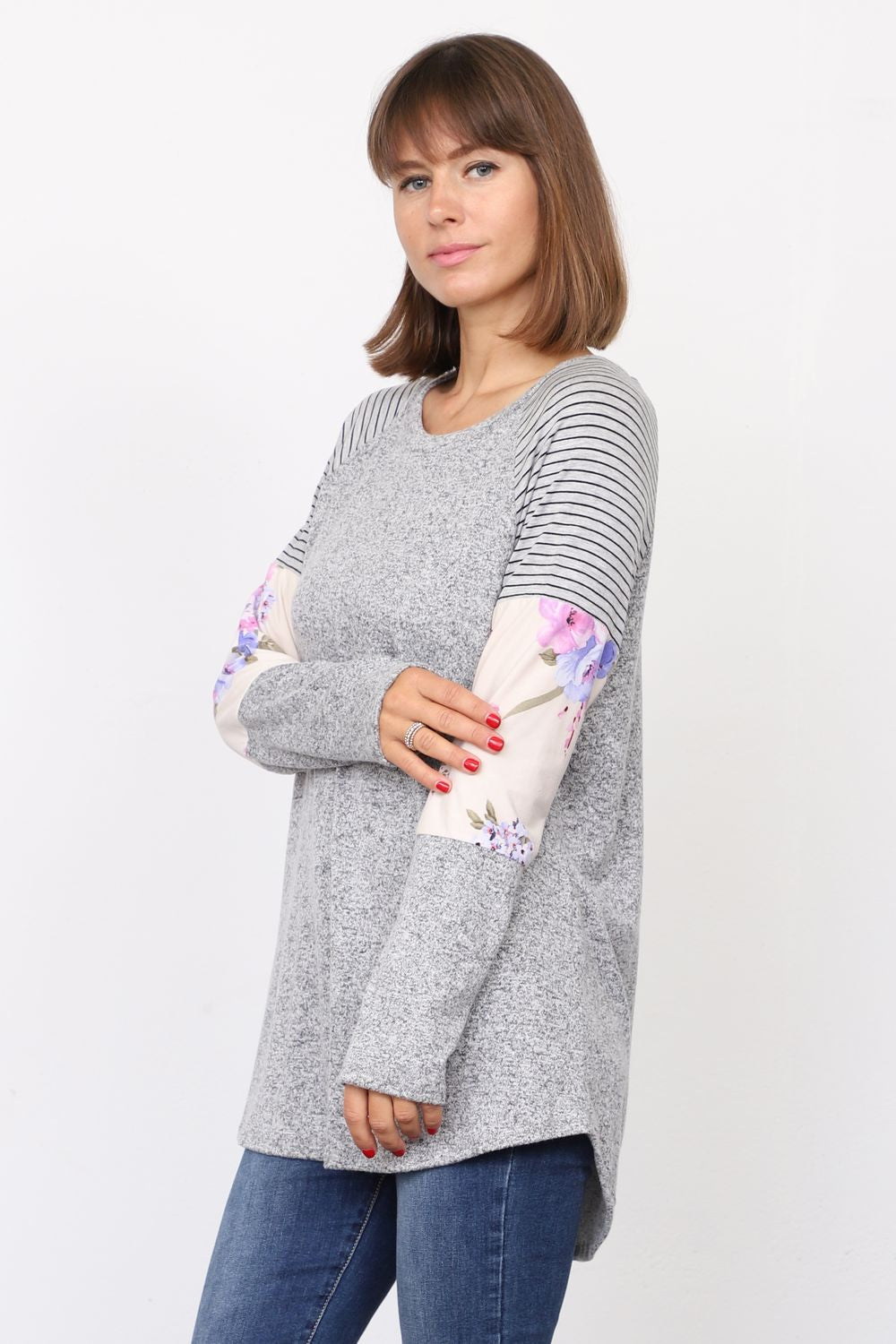 Grey Stripe Floral Color Block Raglan Sleeve Tunic_Plus