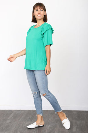 Solid Kelly Green Short Sleeve Ruffle Accent Top