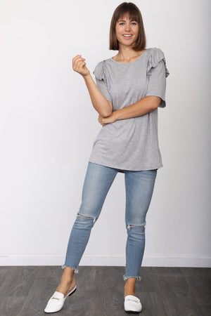 Solid Grey Short Sleeve Ruffle Accent Top