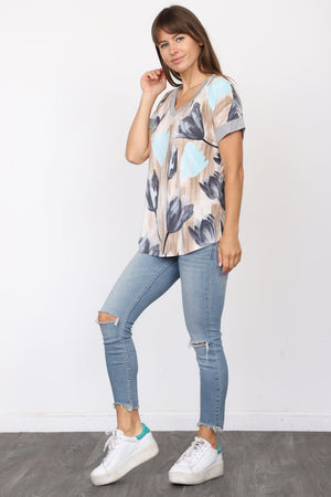 Grey Mint Tulip V-Neck Top