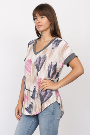 Charcoal Pink Tulip V-Neck Top_Plus