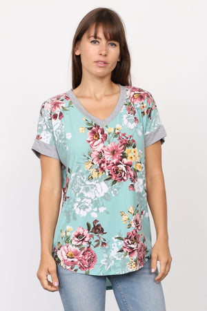 Mint Floral V-Neck Top_Plus
