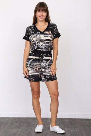 Black Stripe Floral V-Neck Top & Shorts Set