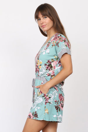 Mint Floral V-Neck Top & Shorts Set_Plus