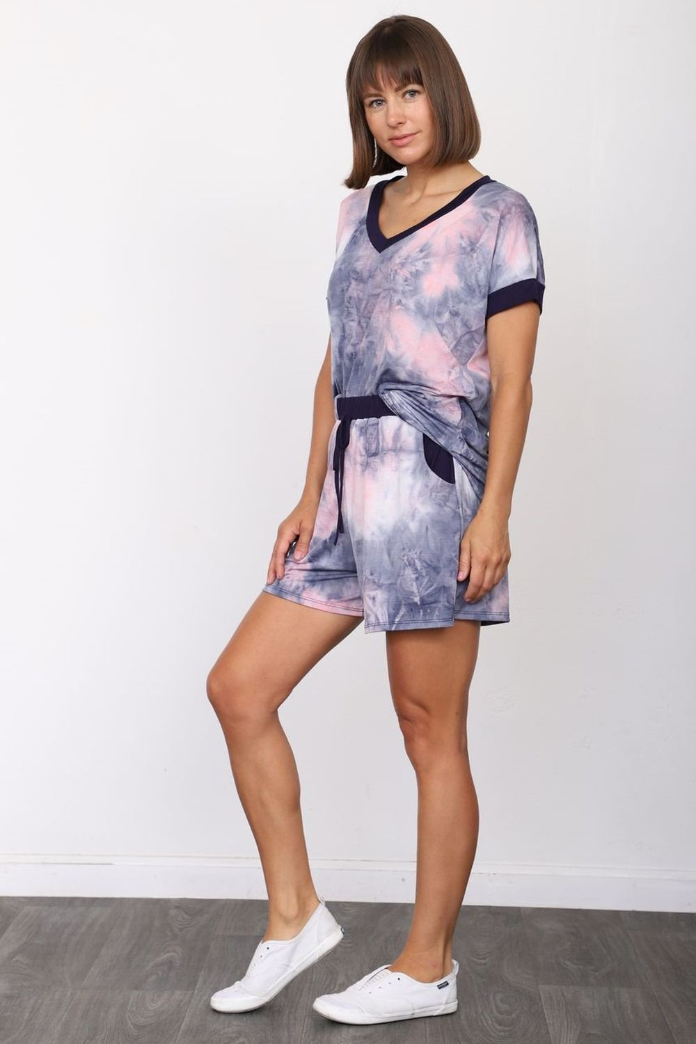 Lavender Tie Dye Top & Shorts Set