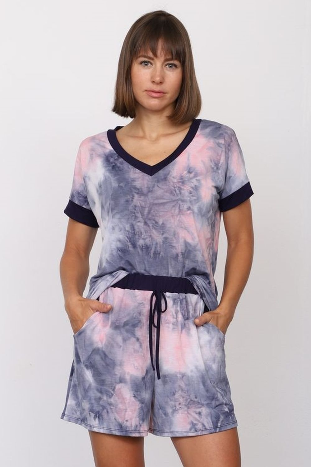 Lavender Tie Dye V-Neck Top & Shorts Set_Plus