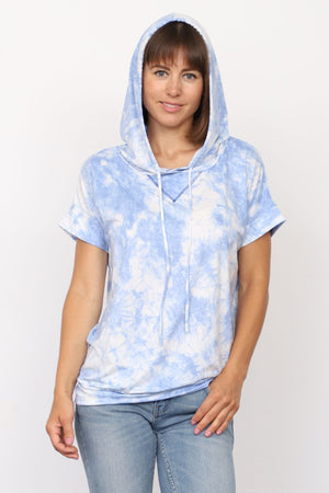 Cloud Tie Dye Short Sleeve Hoodie_Plus