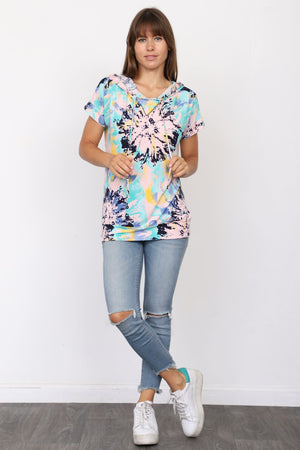 Blue Abstract Short Sleeve Hoodie