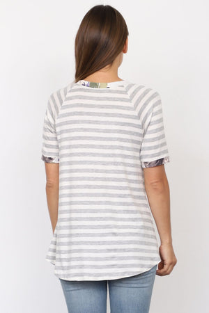 Grey Stripe Short Sleeve Top with Pink Floral Front Pocket