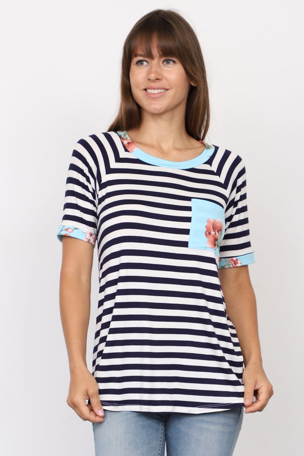 Navy Stripe Short Sleeve Top with Mint Floral Front Pocket_Plus
