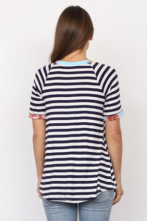 Navy Stripe Short Sleeve Top with Mint Floral Front Pocket