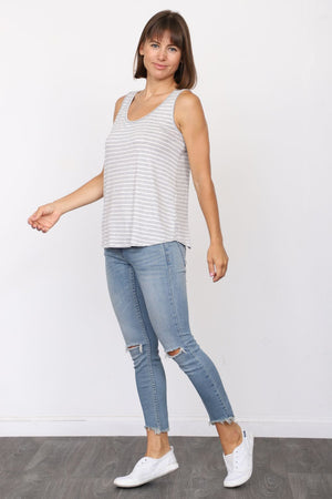 Grey Stripe Sleeveless Top_Plus