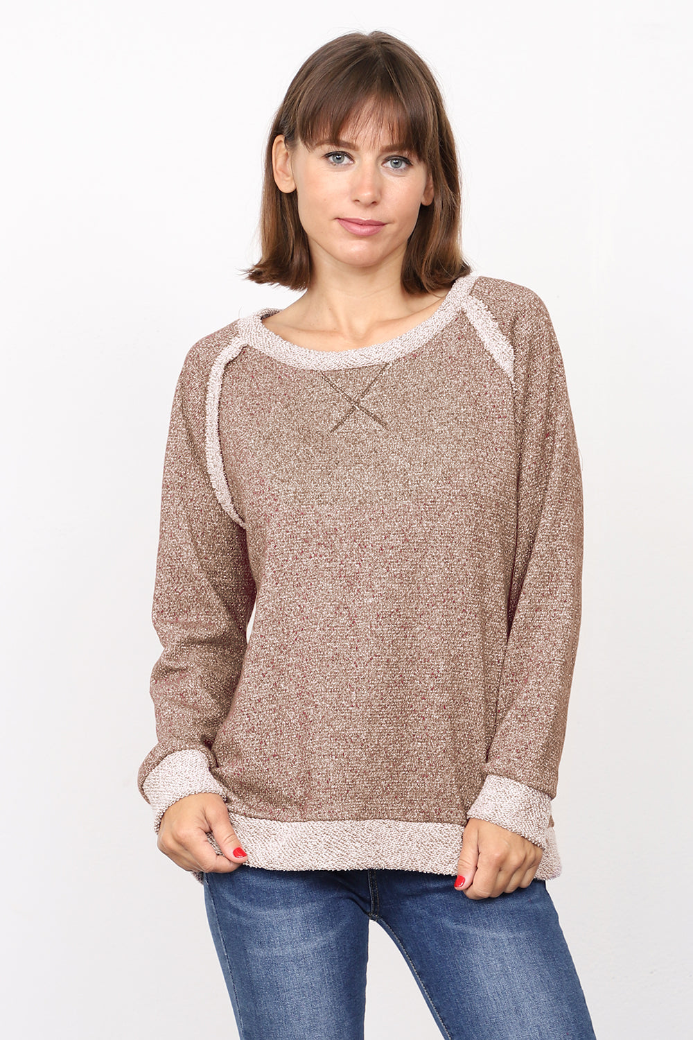 Mocha Shimmer French Terry Boat Neck Top_Plus