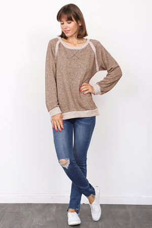 Mocha Shimmer French Terry Boat Neck Top
