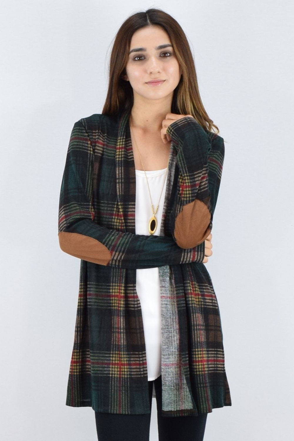 Green Plaid Elbow Patch Cardigan With Pockets_S
