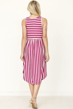 Magenta Stripe Sleeveless Midi Dress