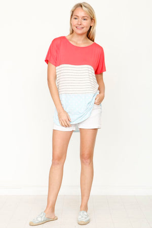 Coral & Mint Polka Dot Color-Block Top