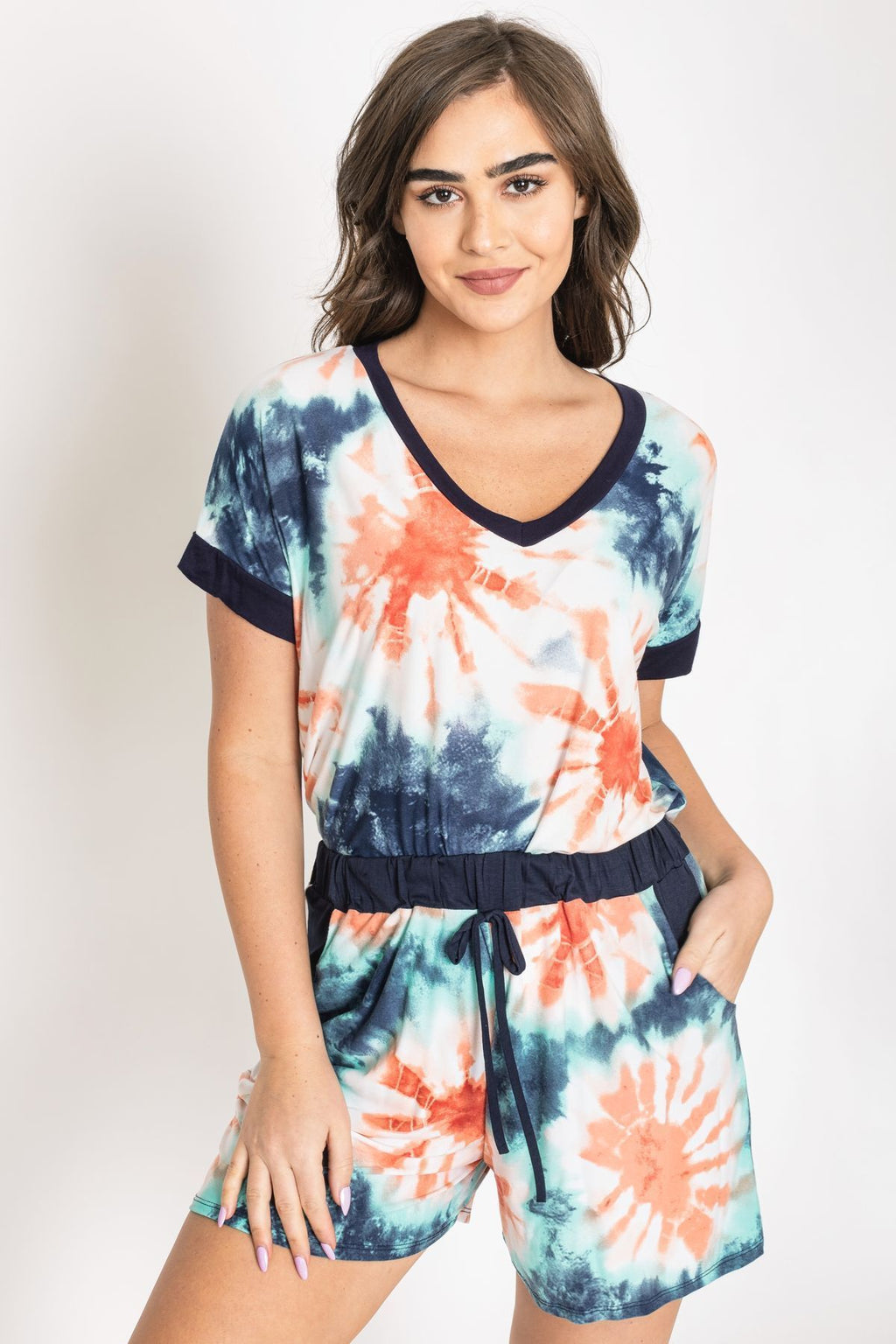 Navy Coral Tie Dye V-Neck Top & Shorts Set