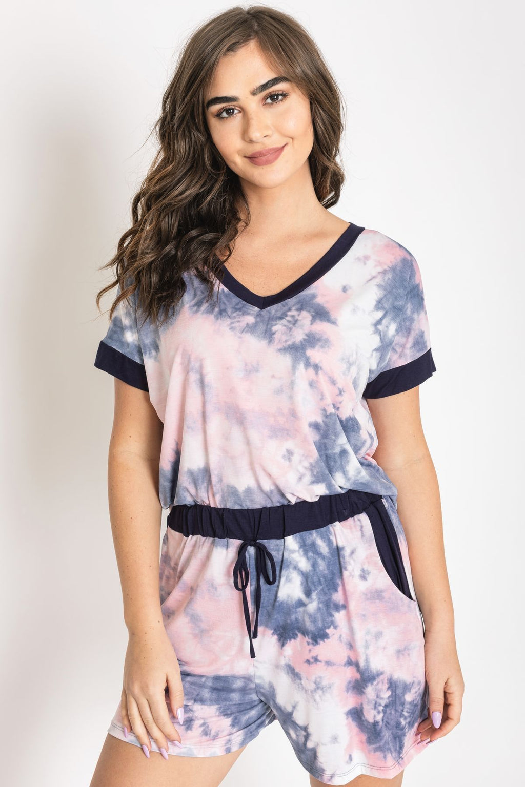 Purple Lavender Tie Dye V-Neck Top & Shorts Set
