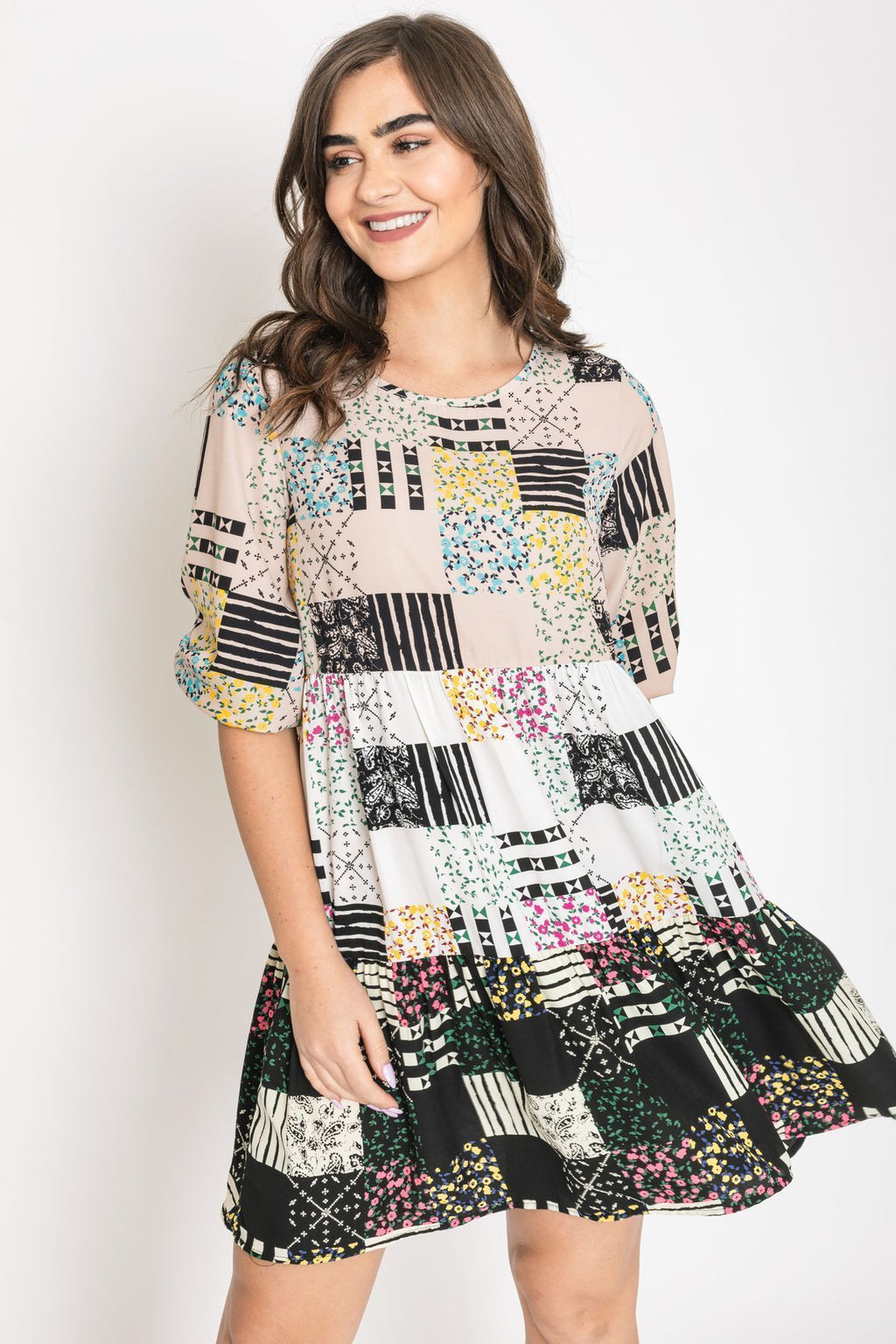 Ditsy Floral Patchwork Dress