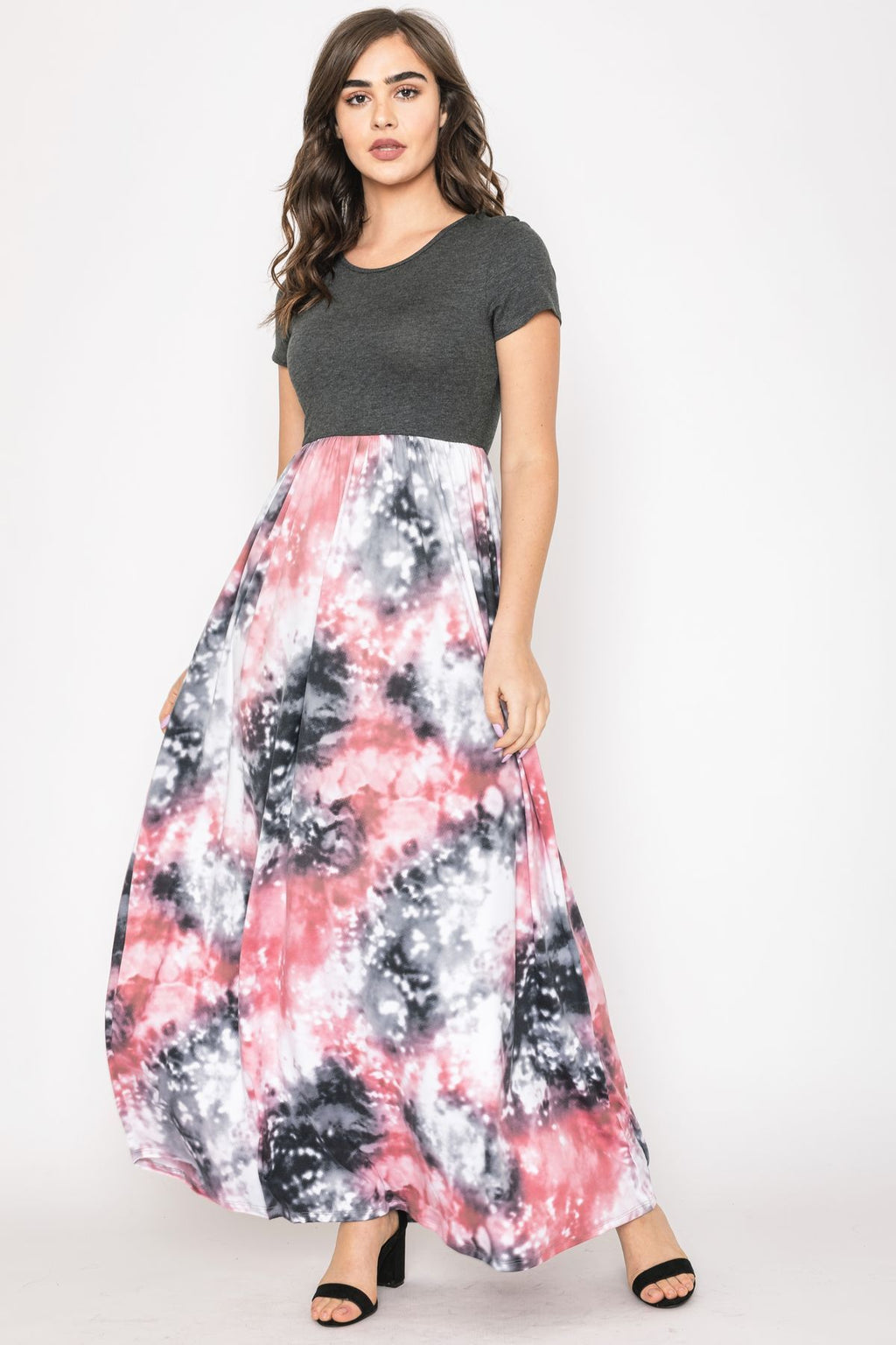 Charcoal Short Sleeve Galaxy Tie Dye Maxi Dress