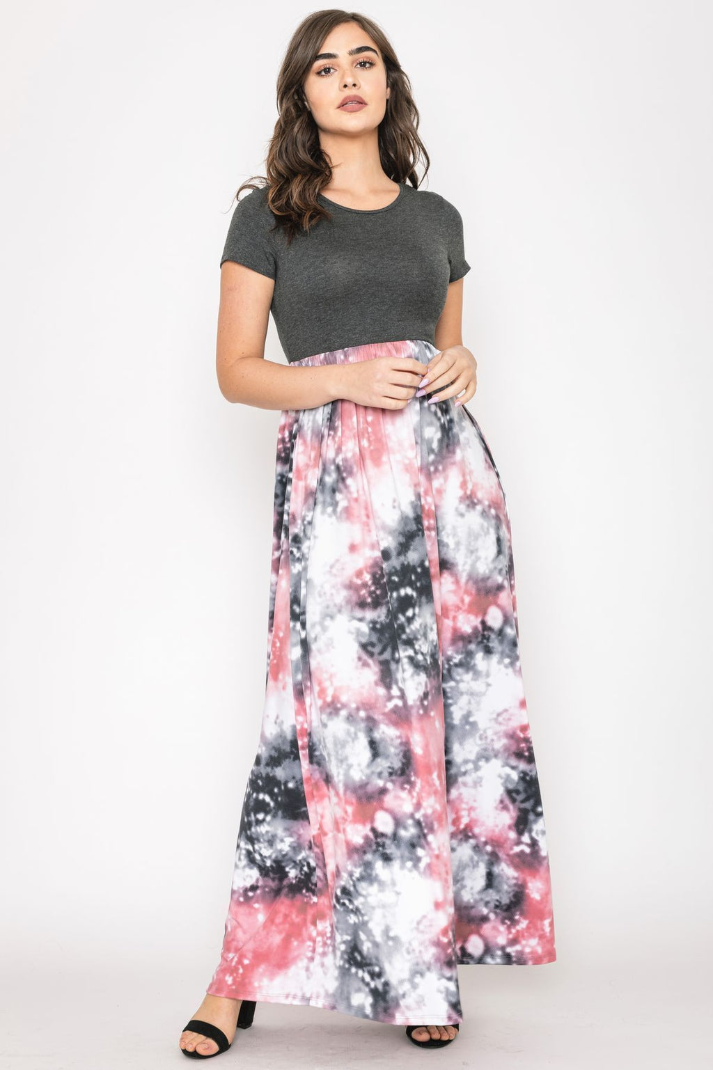 Charcoal Short Sleeve Galaxy Tie Dye Maxi Dress_Plus