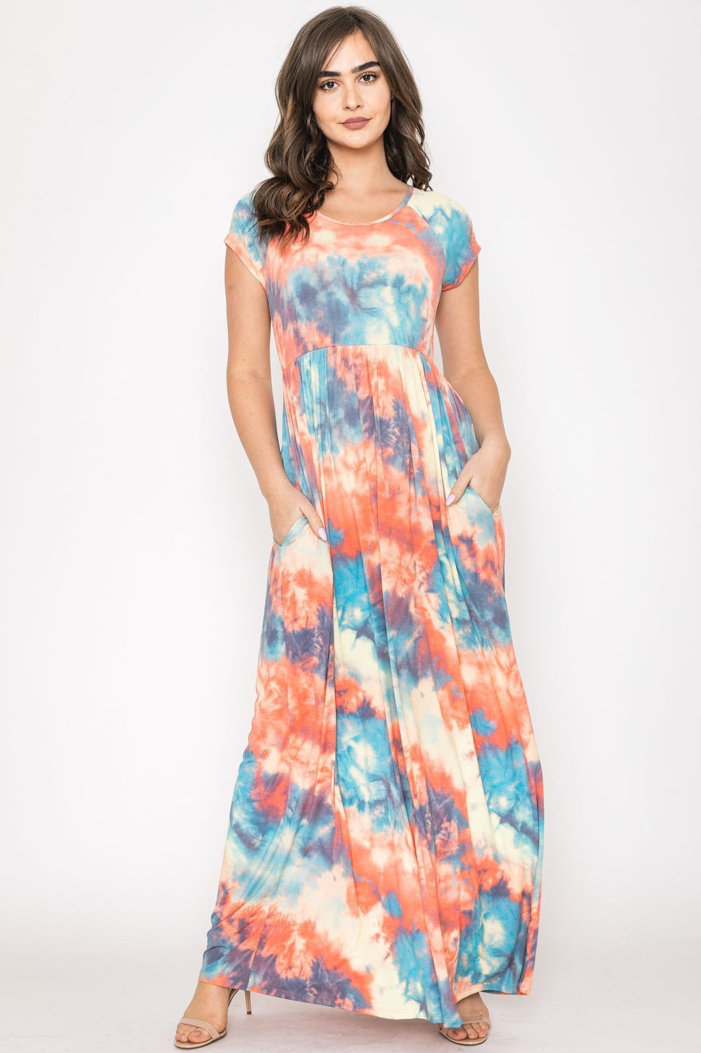 Orange Aqua Tie Dye Cap Sleeve Maxi Dress