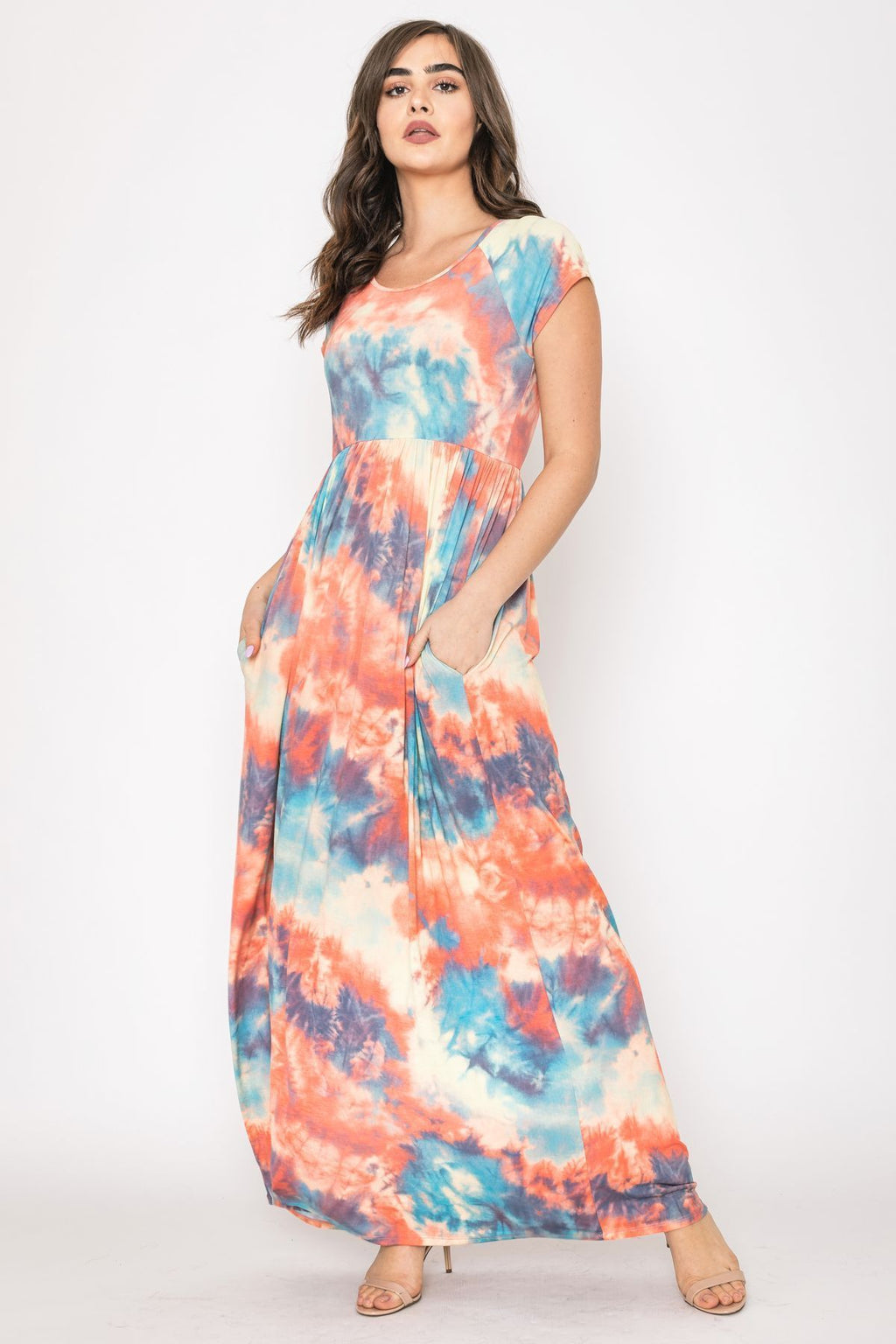 Orange Aqua Tie Dye Cap Sleeve Maxi Dress_Plus