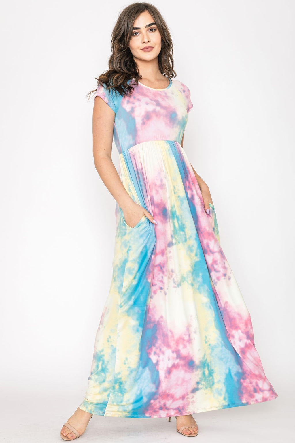 Pink Yellow Tie Dye Cap Sleeve Maxi Dress