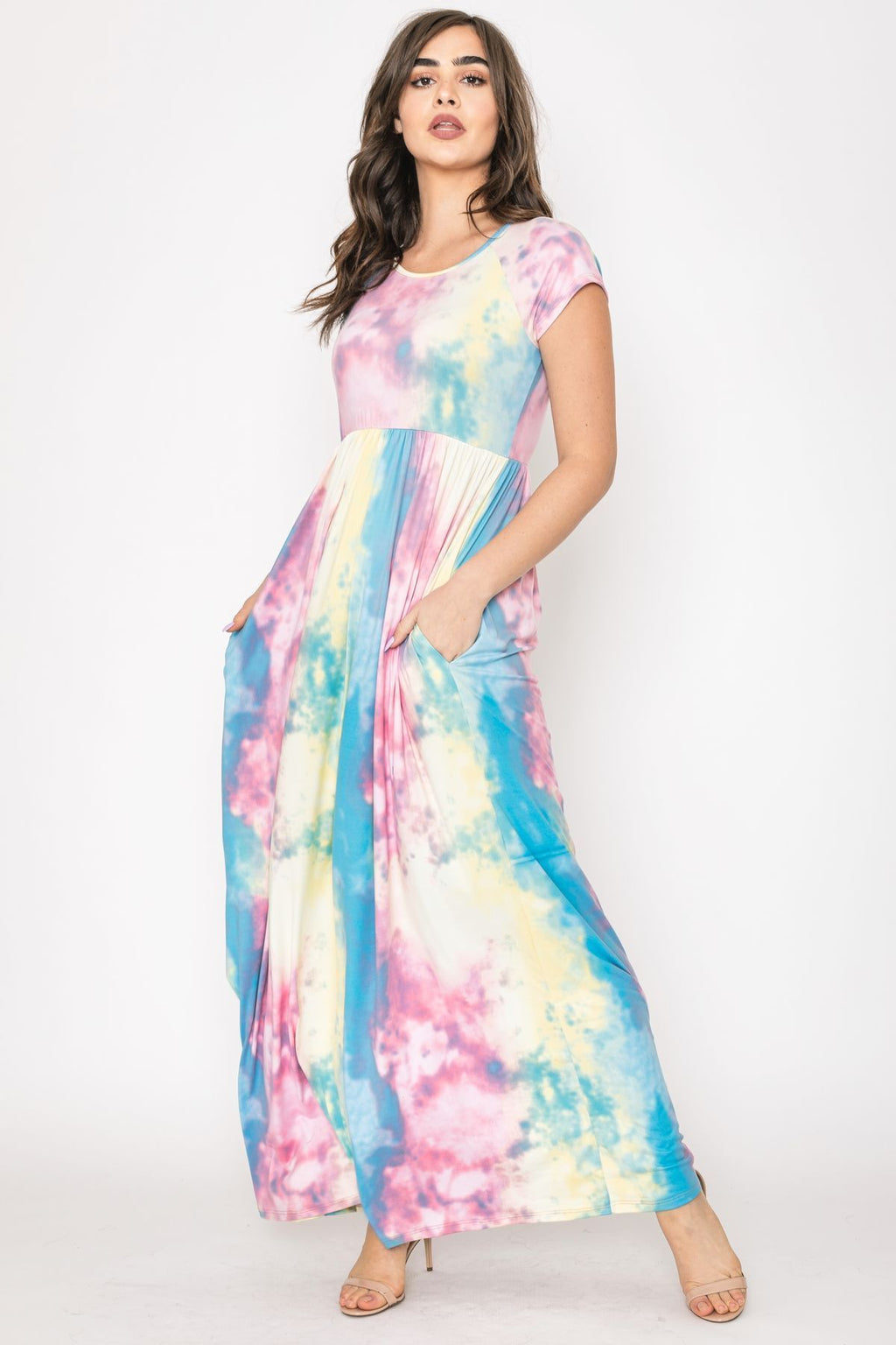 Pink Yellow Tie Dye Cap Sleeve Maxi Dress_Plus