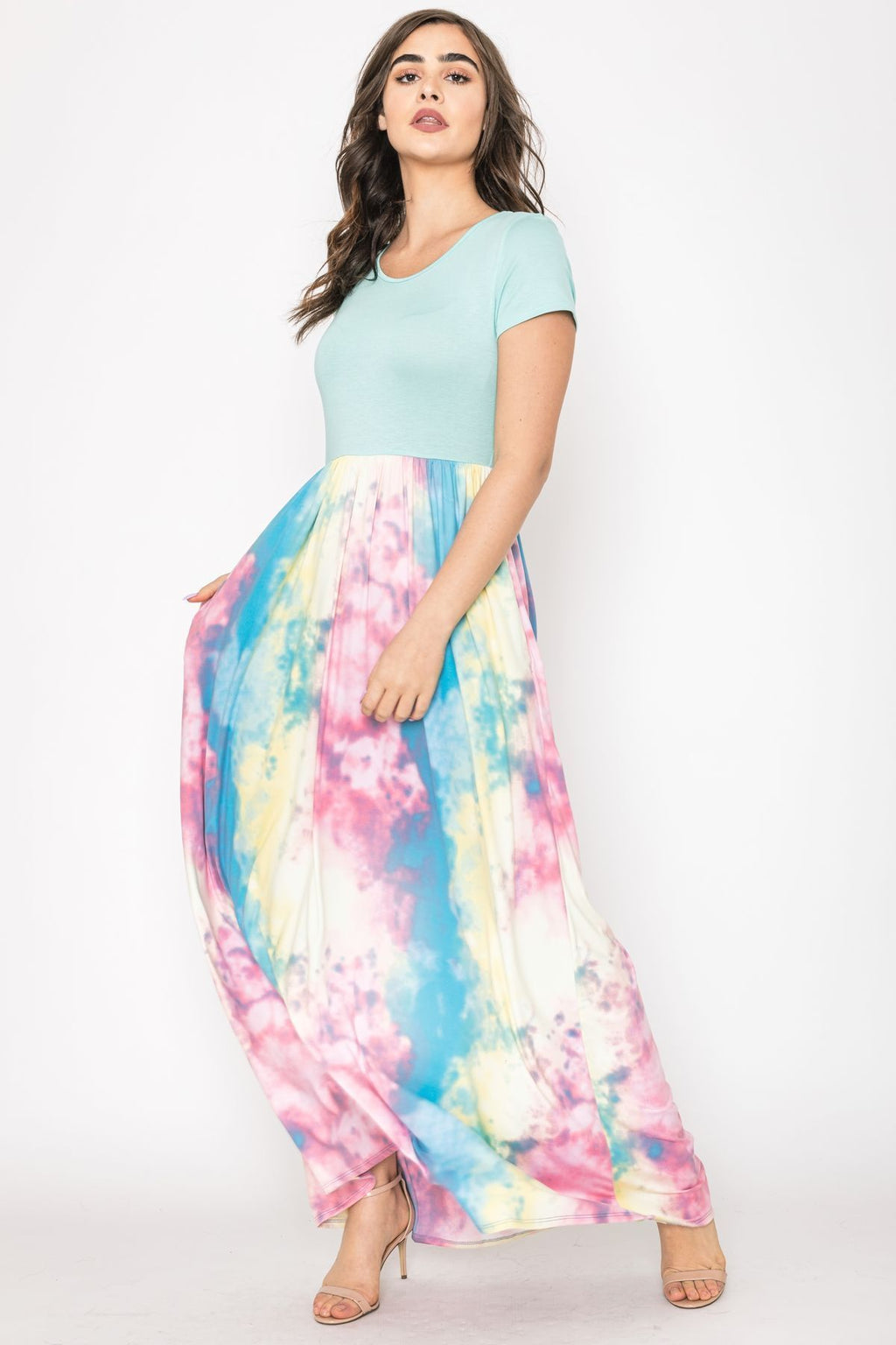 Mint Short Sleeve Pastel Tie Dye Maxi Dress_Plus