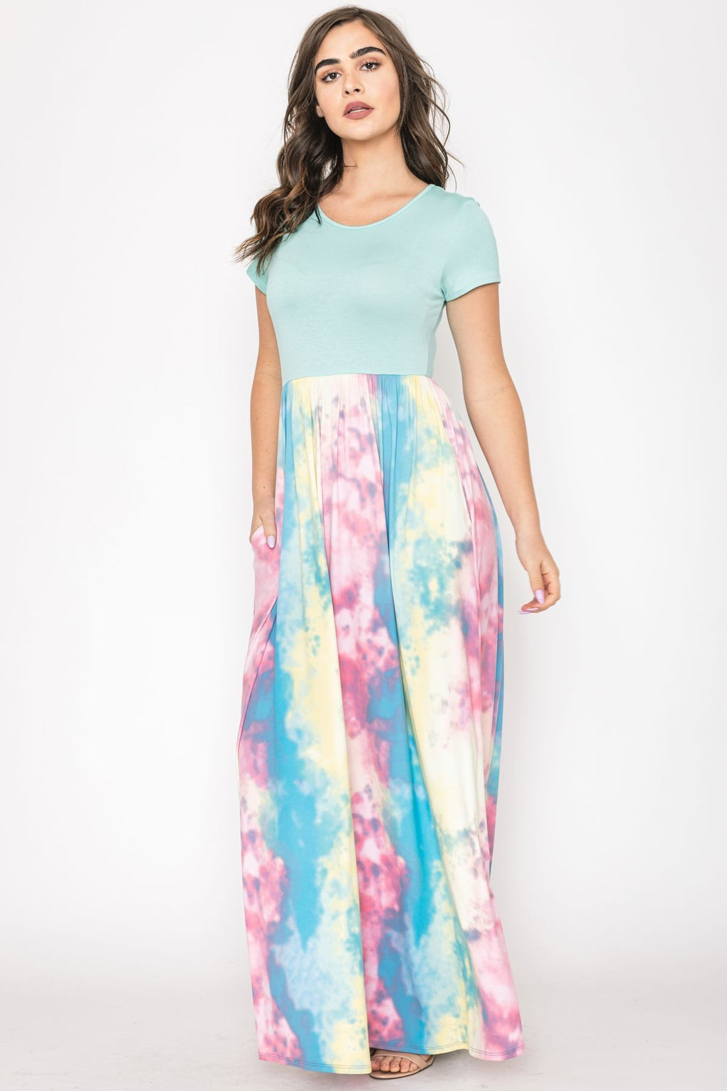 Mint Short Sleeve Pastel Tie Dye Maxi Dress