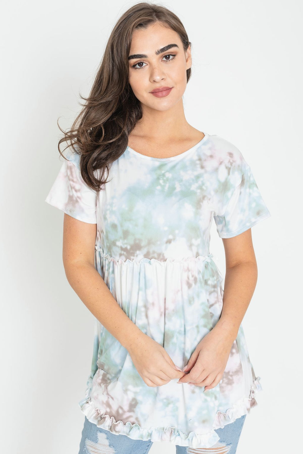 Mint Tie Dye Floral Babydoll Frilled Layered Tunic