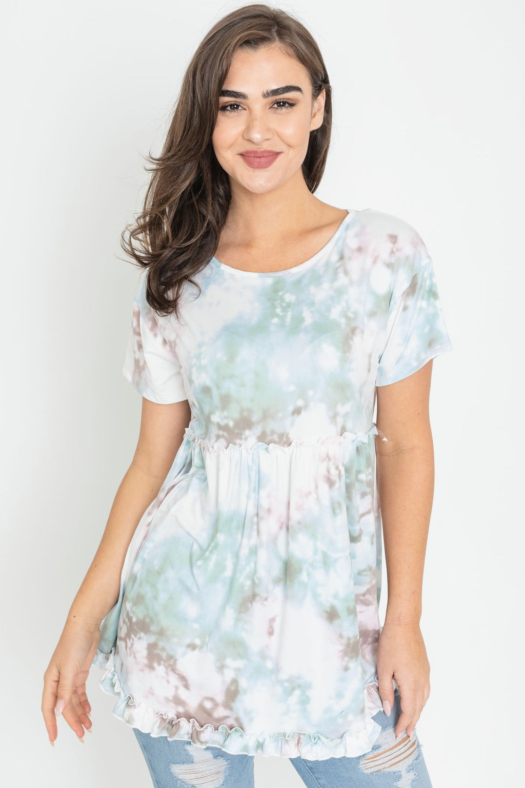Mint Tie Dye Baby Doll Frilled Layered Tunic_Plus