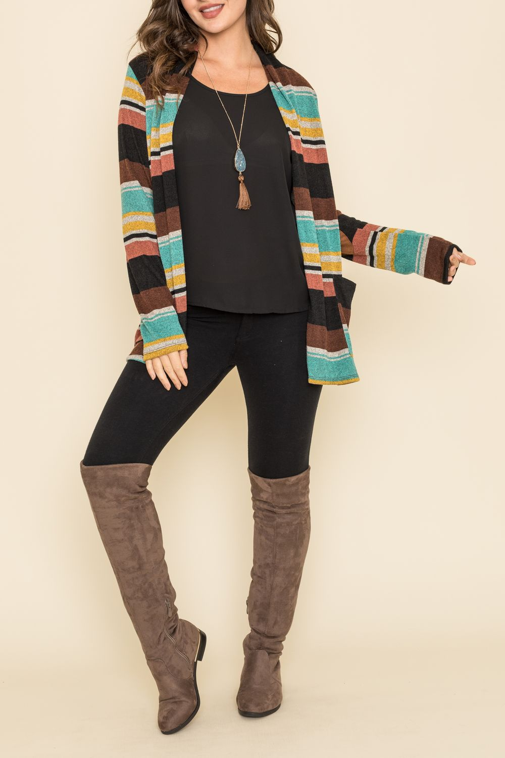 Jade & Mustard Multi-Stripe Cardigan with Elbow Patch_Plus